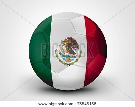 Soccer ball with Mexico flag isolated on white