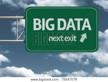 Big Data, next exit creative road sign and clouds