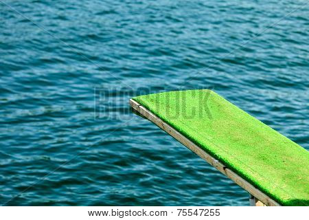 View Of Diving Board. Springboard To Dive At Water.