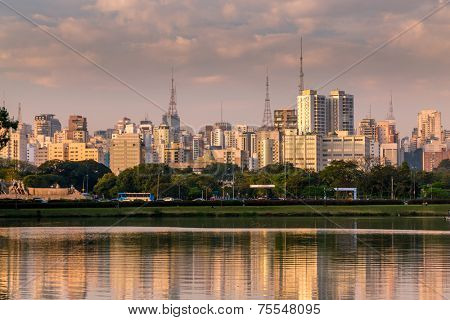 Amazing view of Sao Paulo city from Ibirapuera Park. The Ibirapuera is one of Latin America largest city parks.