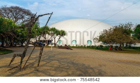 SAO PAULO, BRAZIL - AUG 24: The Museum of Aeronautics in Ibirapuera Park on August 24, 2010. The museum is one of the landmarks of Ibirapuera Park, which is a major urban park in Sao Paulo.