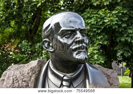 MOSCOW, RUSSIA - MAY 29: Statue to Lenin in Moscow on May 29, 2013. Vladimir Ilyich Lenin was a Russian communist revolutionary, politician and political theorist.