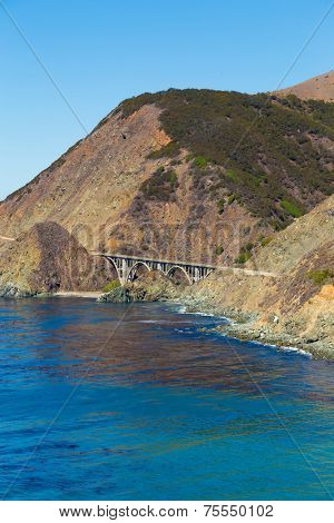 The Big Sur and its rocky coastline on a wonderful day in USA, California