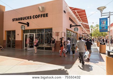 LAS VEGAS, USA - SEP 15: Starbucks Coffee at Premium Outlet on September 15, 2013 in Las Vegas, Nevada. The largest coffeehouse company in the world with 18,887 stores.