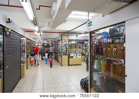 SAO PAULO, BRAZIL - October 13: Boulevard Shopping Mall in Paulista Avenue on October 13, 2013, in Sao Paulo, Brazil. Stores with a miscellaneous kind of products: Tenis, Toys, Jewelry, Bags, etc.