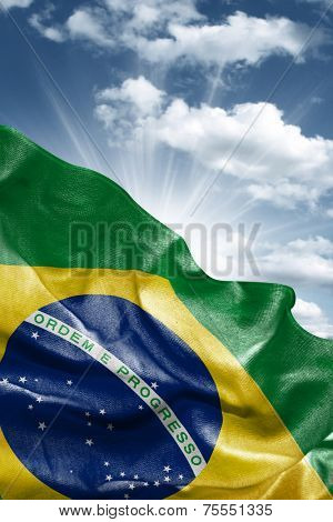Amazing Flag of Brazil with a beautiful blue sky as the background - Latin America