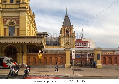 SAO PAULO, BRAZIL - AUG 31: External panorama of Luz Station in August 31, 2013 in Sao Paulo. Luz Station lays on 7.500 m², where structures from England copying Big Ben and Westminster Abbey are.