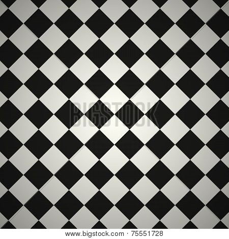 Black and White Diagonal Checkered Texture