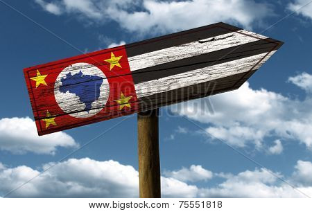 Sao Paulo flag wooden sign with a beautiful sky on background - Latin America