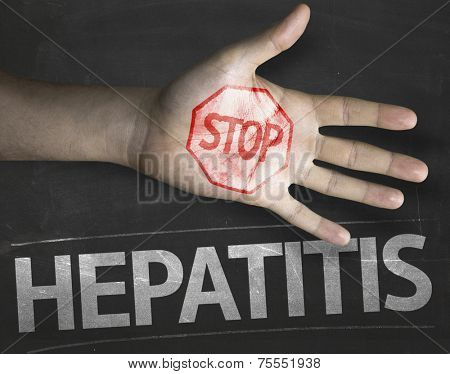 Educational and Creative composition with the message Stop Hepatitis on the blackboard