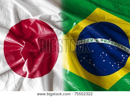 Flag symbolizing the relationship between Japan and Brazil