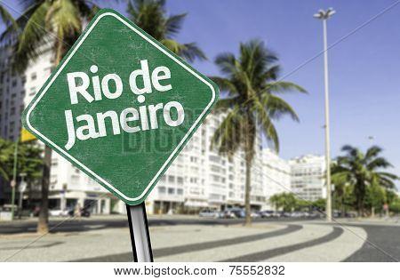 Rio de Janeiro Sign on Copacabana sidewalk, Brazil