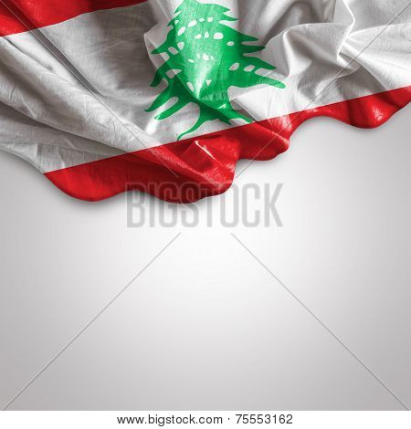 Waving Flag of Lebanon (officially the Lebanese Republic), East Mediterranean