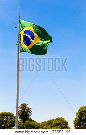 Amazing brazilian flag with a blue sky - Latin America