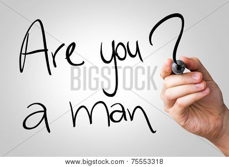 Are you a man hand writing with a black mark on a transparent board