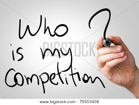 Who is my competition hand writing with a black mark on a transparent board
