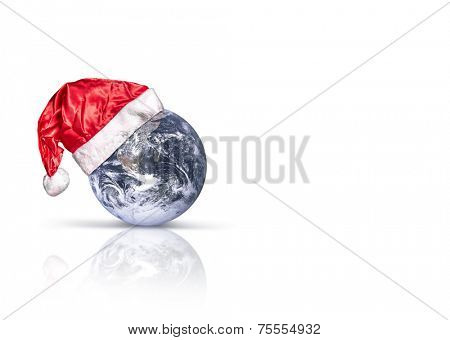 Santa Claus hat and the Earth. Elements of this image furnished by NASA