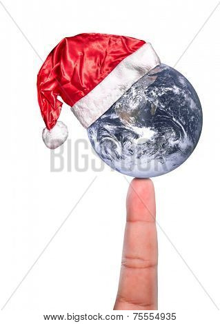 Santa Claus hat, the Earth and the Finger. Elements of this image furnished by NASA