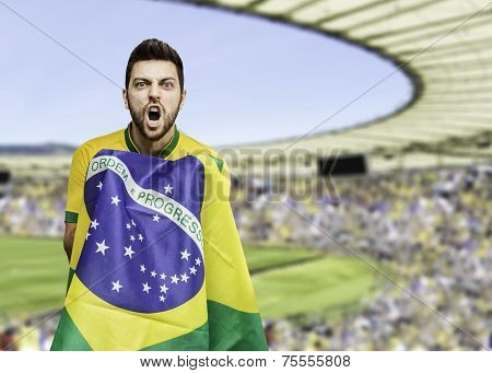 Brazilian man celebrates on the stadium