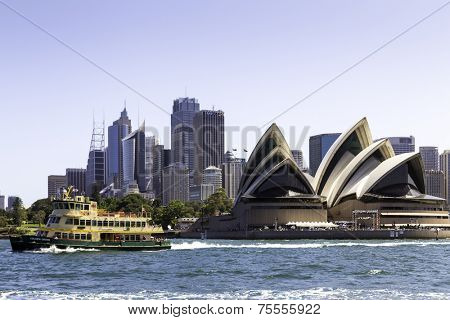 SYDNEY, AUSTRALIA - JANUARY 4: Sydney Opera House view on January 4, 2014 in Sydney, Australia. The Sydney Opera House is a famous arts center. It was designed by Danish architect Jorn Utzon.
