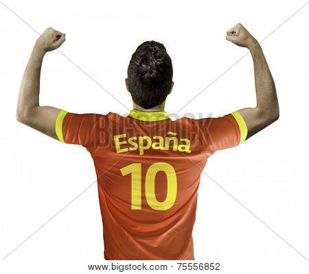 Man celebrates on white background with the spanish t-shirt