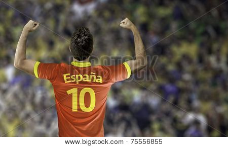 Man celebrates on stadium with the spanish t-shirt