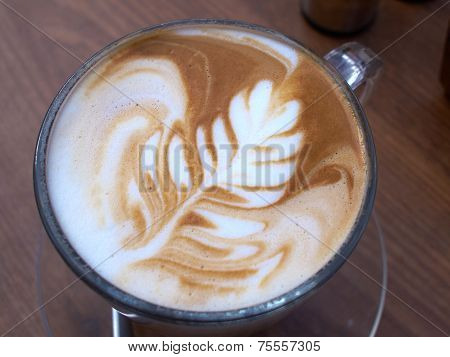 Cup Of Latte Art Coffee