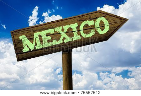 Mexico wooden sign on a beautiful day
