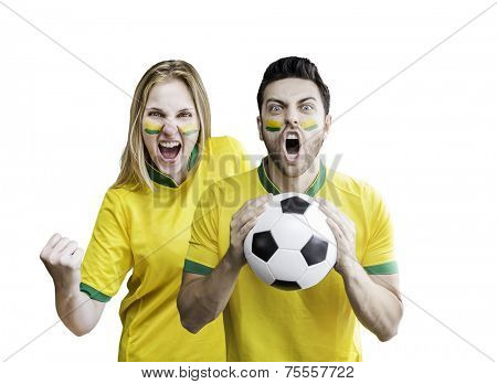 Brazilian fans celebrate on white background