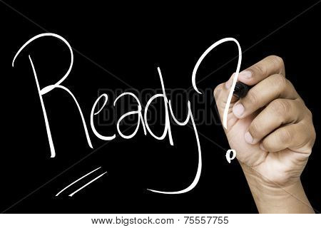 Ready hand writing with a white mark on a transparent board
