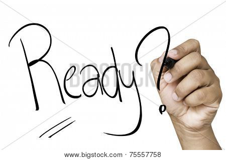 Ready hand writing with a black mark on a transparent board