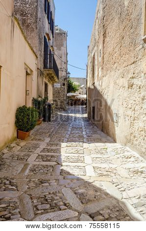 Stone Paved Old Street In Erice, Sicily