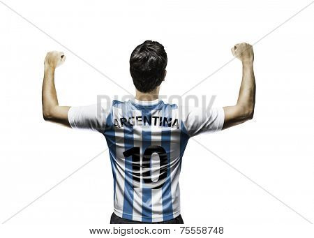 Argentinian soccer player celebrates on white background