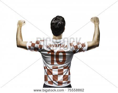 Croatian soccer player celebrates on white background