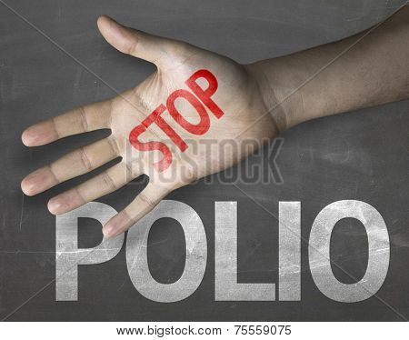 Educational and Creative composition with the message Stop Polio on the blackboard