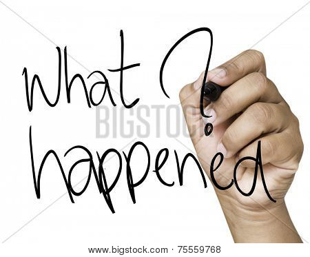 What happened hand writing on black marker on transparent wipe board