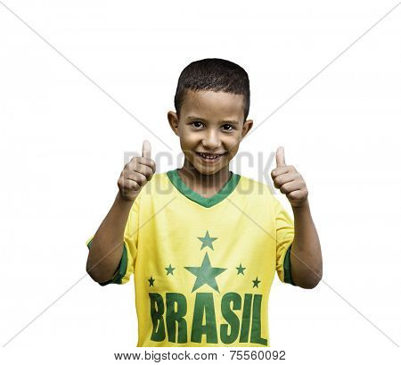 Brazilian fan boy celebrates isolated on white background