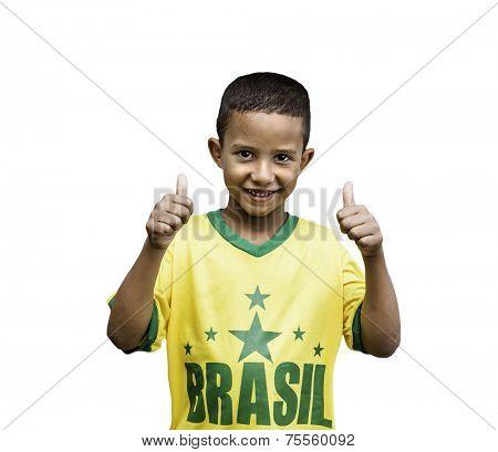Brazilian fan boy celebrates isolated on white background