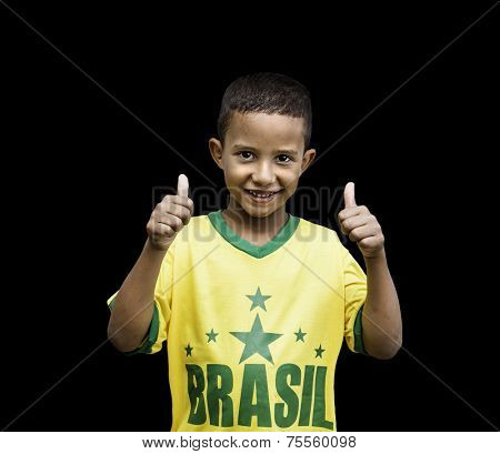Brazilian fan boy celebrates isolated on black background