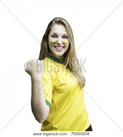 Brazilian fan celebrates on white background