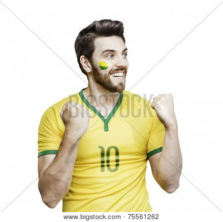 Brazilian fan celebrates on the white background