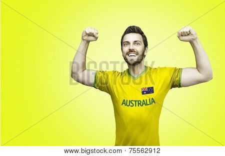 Aussie fan celebrates on yellow background