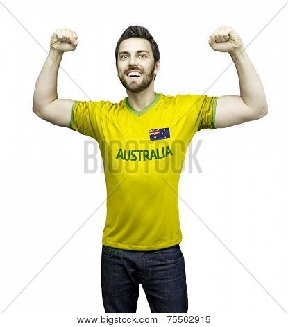 Aussie fan celebrates on white background