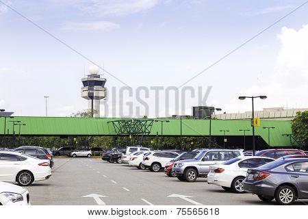 SAO PAULO, BRAZIL - CIRCA MAY 2014: Parking Lot of Gru Airport in Sao Paulo, Brazil. Gru Airport is located in Sao Paulo and is the main airport in Brazil.