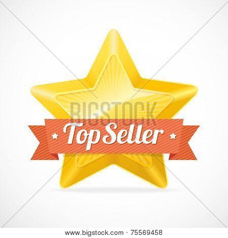 Top Seller star label. Vector illustration