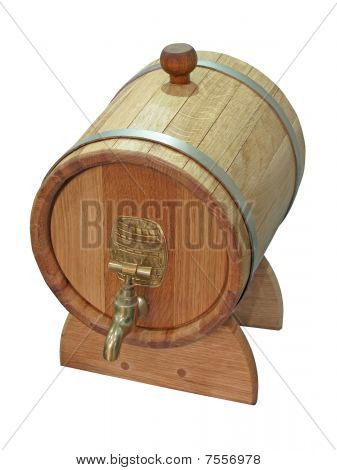 Wooden Small Barrel Isolated