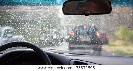 Traffic Congestion Wheel Car Rain Weather