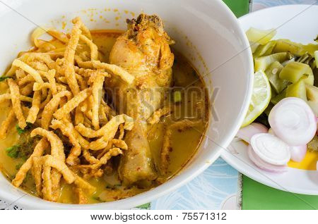 Noodle With Chicken In Curry Soup (thai Food)