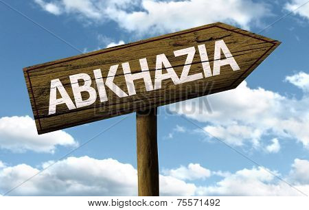 Abkhazia wooden sign on a beautiful day