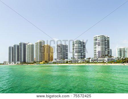 Jade Beach in sunny isles beach  and skyscraper